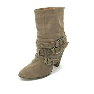 Franco Fortini Cole Boots Tan Size 9.5 Suede Moto